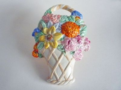 Beswick 'Basket of Flowers' Art Deco Wall Plaque Model No.551 c1937